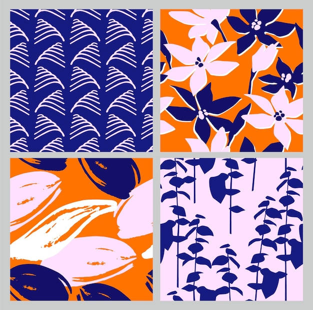 Artistic set of seamless patterns with abstract flowers and leaves