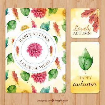 Set artistico di carte d'autunno in acquerello