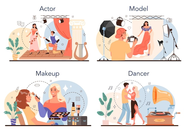 Artistic and showbusiness occupation set. actor, dancer, make up artist and model. collection of modern professions. flat vector illustration