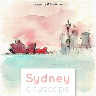 Artistic sketchy watercolor sydney cityscape background