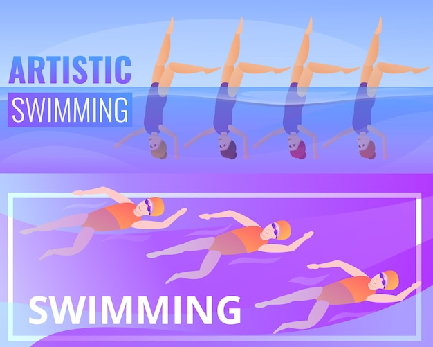 Artistic swimming illustration set. cartoon illustration of artistic swimming