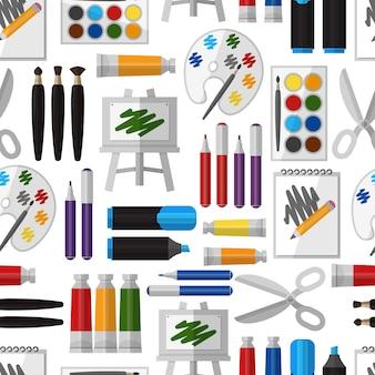 예술적 도구 완벽 한 패턴입니다. 페인트 브러시 및 도구, 디자인 드로잉, 브러시 및 팔레트, 공예 및 다채로운 구 아슈, 취미 및 수채화