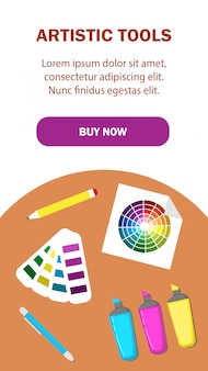 Artistic tools landing page vector template.