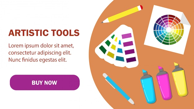 Artistic tools web page vector template