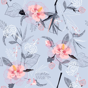 Artistic tropical flower pattern