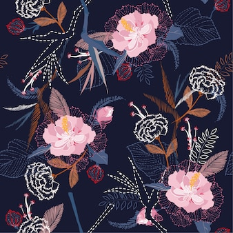 Artistic tropical flower pattern