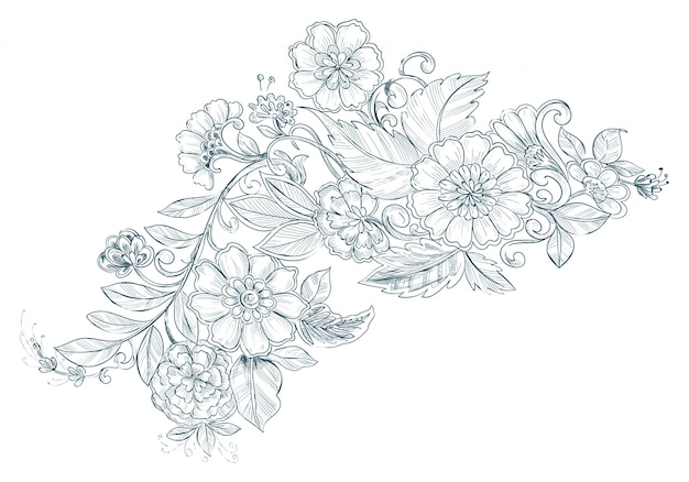 Artistic vintage decorative sketch wedding floral background