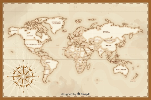 Artistic vintage world map draw concept