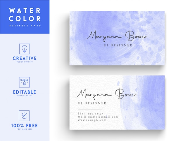 Artistic violet and white watercolor business card