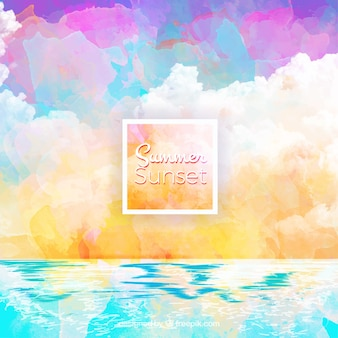 Artistic watercolor beach summer background