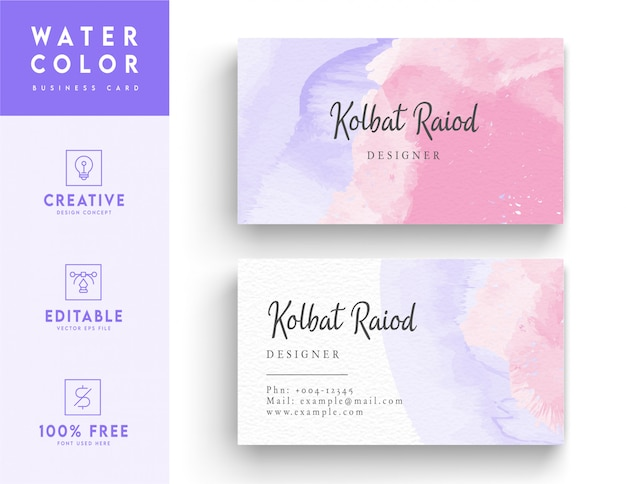 Artistic watercolor business card