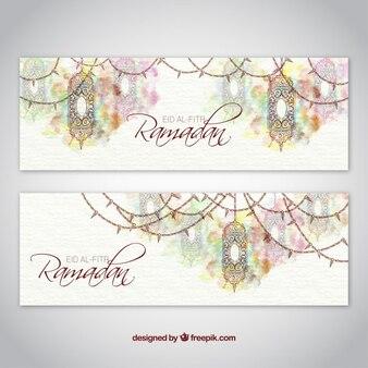 Artistic watercolor ramadan banners