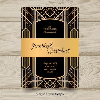 Художественный шаблон приглашения на свадьбу в дизайне арт-деко