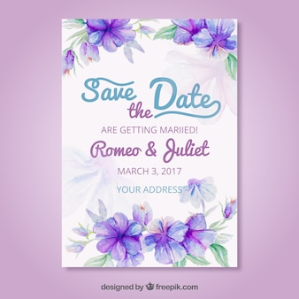 Artistic wedding invitation with watercolor flowers