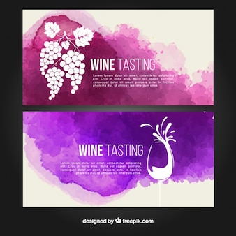 Artistic wine tasting banners with watercolor stains