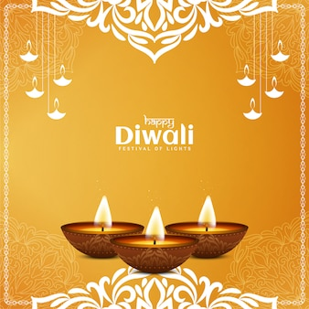 Artistic yellow color happy diwali elegant background
