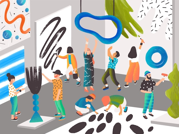 예술가와 조각가들은 예술 거주지나 창의적인 사람들을 위한 장소에서 그림을 그리고 조각합니다. 현대 미술을 창조하는 남녀. 평면 만화 스타일에서 현대 다채로운 벡터 일러스트 레이 션.