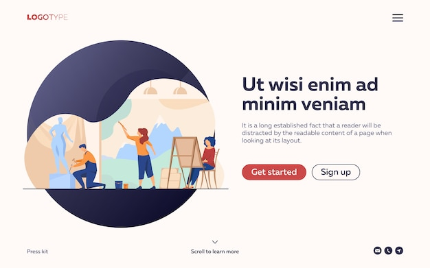 Artists creating artworks flat illustration. landing page or web template