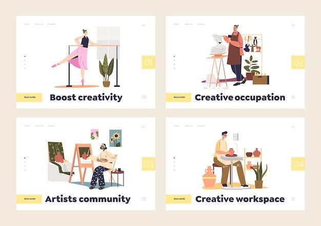 Концепция творческого занятия художников набора целевых страниц с артистами, создающими искусство: игра на скрипке, изготовление посуды, лепка, танцевальный балет, живопись. плоские векторные иллюстрации