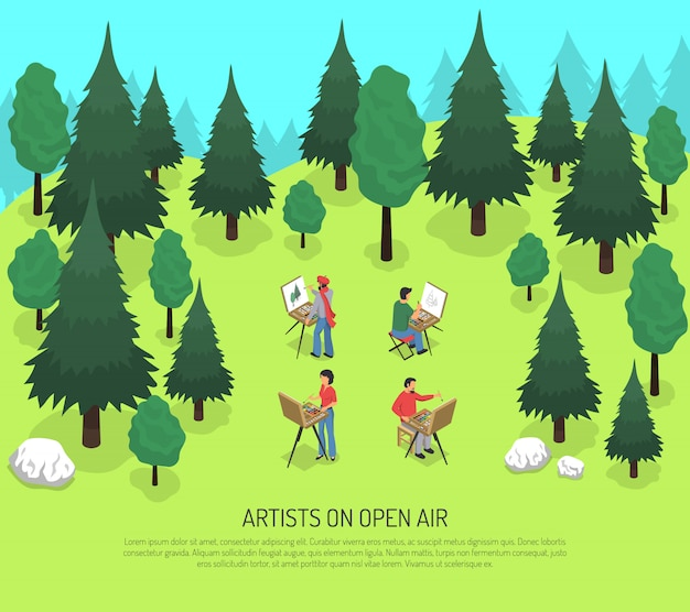 Artists on open air isometric illustration