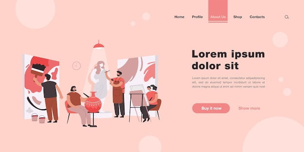 Artists and sculptors creating artworks in workshop or design studio landing page in flat style