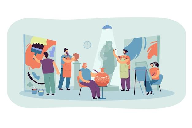 Artists and sculptors creating artworks in workshop or design studio