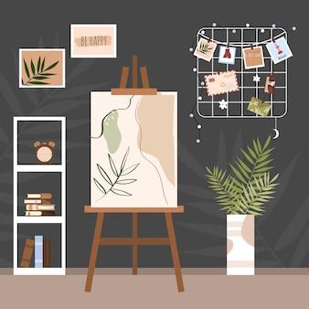 アーティストワークスペース。ワークプレイス。クリエイティブなアパートメント。イーゼルインザルーム。モダンなインテリアデザイン