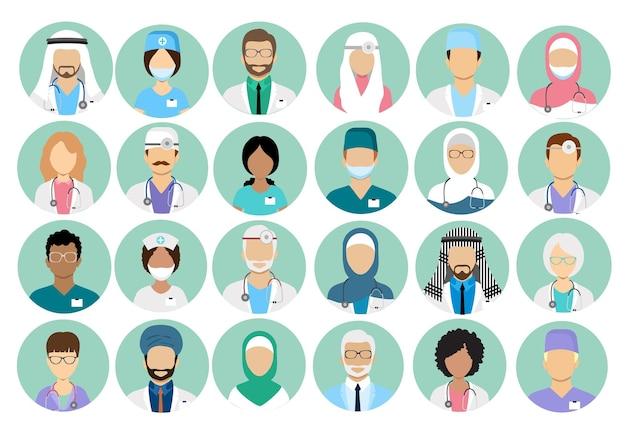 アートゥーンの多国籍医療キャラクターアバターセット。女性、男性、医師、医療ユニフォームの円のアイコン。医師と看護師はベクトルアイコンをプロファイルします。外科医およびセラピスト、眼科医、栄養士のアバター