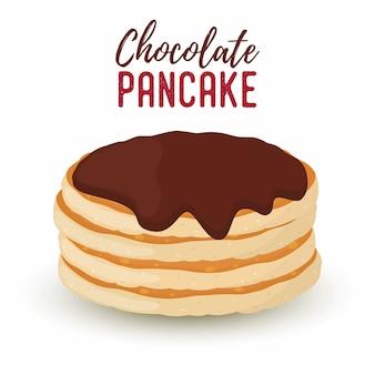 Сartoon pile of pancakes with chocolate syrup
