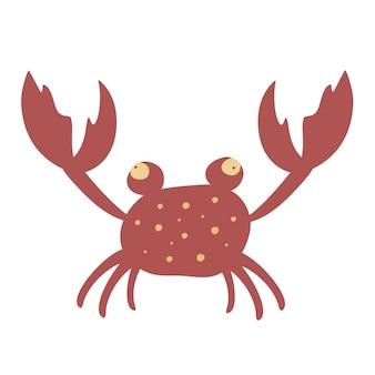 Ð¡artoon 붉은 게 벡터 일러스트 레이 션. 발톱이 있는 물의 동물. 다채로운 만화 캐릭터입니다. 게 껍질 아이콘은 흰색 배경에 격리되어 있습니다.
