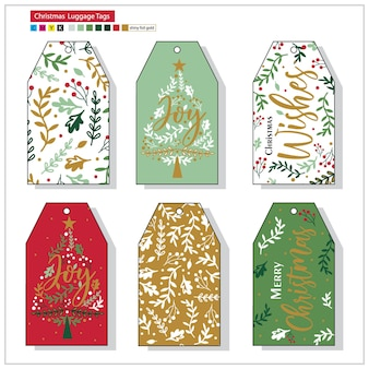 Artwork christmas luggage tags with red and green colored