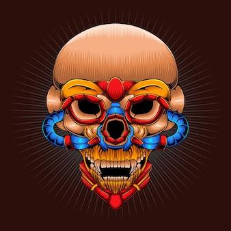 삽화 머리 메카 해골 그림