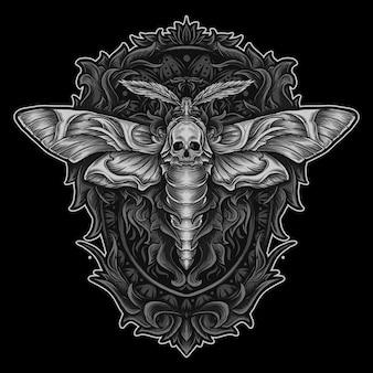 アートワークのイラストと彫刻飾りの頭蓋骨の蛾