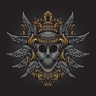 Иллюстрация искусства и дизайн футболки ангел череп гравировка орнамент