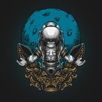Иллюстрация искусства и дизайн футболки космонавты и лунный гравирующий орнамент Premium векторы