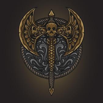 Иллюстрация искусства и дизайн футболки топор гравировка орнамент