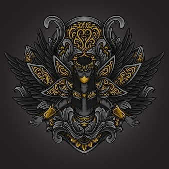 アートワークのイラストとtシャツのデザイン黒天使の彫刻飾り