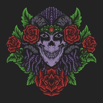 삽화 삽화 및 t 셔츠 디자인 악마 여자와 장미