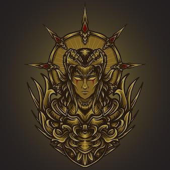 Иллюстрация искусства и дизайн футболки злые женщины гравировка орнамента