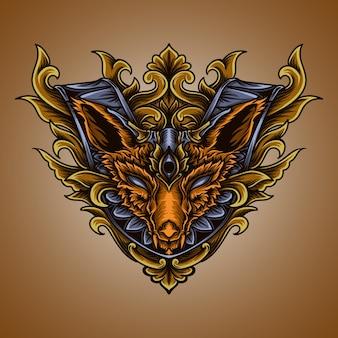 アートワークのイラストとtシャツのデザインキツネの彫刻飾り