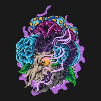 Иллюстрация иллюстрации и дизайн футболки козий череп гриб