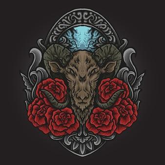 アートワークのイラストとバラの彫刻の飾りとtシャツのデザインのヤギ