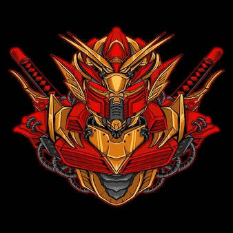 アートワークのイラストとtシャツのデザインの金と赤のロボット