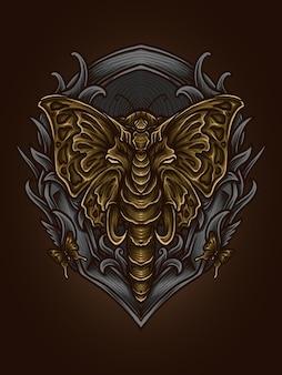 アートワークのイラストとtシャツのデザイン黄金の象の蝶の彫刻飾り