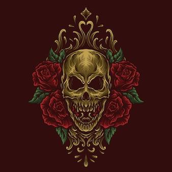 アートワークのイラストとtシャツのデザインゴールデンゴールデンスカルとバラの彫刻飾り