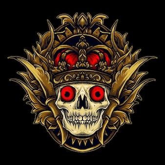 アートワークのイラストとtシャツのデザインの王の頭蓋骨の彫刻飾り