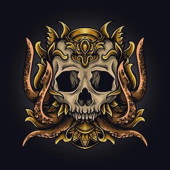 삽화 삽화 및 t- 셔츠 디자인 문어 두개골