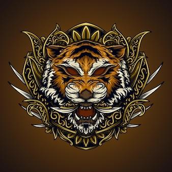 虎の頭の彫刻飾りのアートワークイラストとtシャツのデザイン