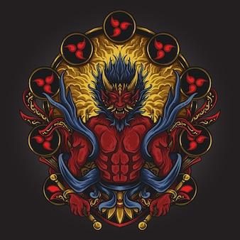 アートワークのイラストとtシャツのデザイン雷神日本人彫刻飾り付き