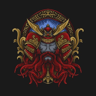 アートワークのイラストとtシャツのデザイン赤と金のタコ侍の彫刻飾り